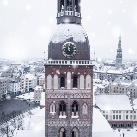 An amazing aerial view of the Riga old town during a heavy snow